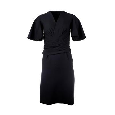 draped detail midi dress black